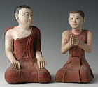 19th C., Mandalay, Burmese Wooden Seated Disciple