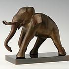 19th Century, Burmese Bronze Walking Elephant