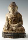 Early 19th Century, Burmese Wooden Seated Buddha