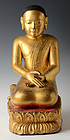 17th - 18th Century, Burmese Wooden Seated Disciple