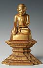 18th C., Burmese Paper Mache' Seated Buddha on Tall Bas