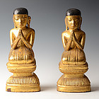 17th-18th C., A Pair of Burmese Wooden Seated Disciples