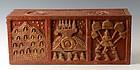 Thai Lanna Wooden Bible Chest with Design on 5 Sides