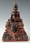 18th C., Khmer Wooden Seated Buddha