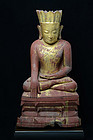 16th C., Burmese Wooden Seated Crowned Buddha