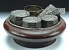 A Qing Silver Betel Nut Set
