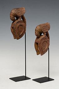 A Pair of Burmese Wooden Weaving Tools