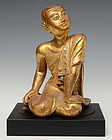 Early 19th Century, Burmese Wooden Seated Disciple