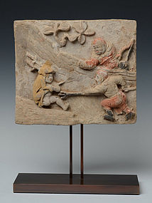 Chinese Pottery Panel with Figures Design