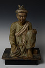 Early 19th Century, Rare Burmese Bronze Seated Rishi