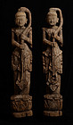 A Pair of Burmese Wooden Standing Twisted Hair Angels