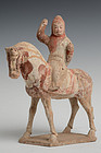 Chinese Pottery Figure of Horse and Rider
