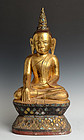 18th Century, Burmese Wooden Seated Buddha