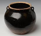 Chinese Dark-Brown Glazed Jar in Globular Form