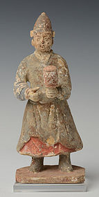 Chinese Pottery Male Figure Holding Musical Instrument