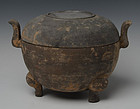 Chinese Pottery Han Covered Jar with Two Handles