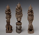 A Set of 3 Burmese Wooden Standing Angels on Animals