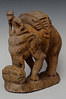 Burmese Wooden Standing Elephant with Rider