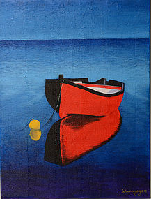 Burmese Oil Painting of A Floating Boat