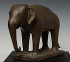 Burmese Bronze Standing Elephant on Rectangular Base