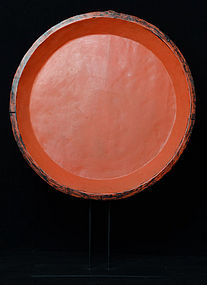 Large Burmese Wooden Tray with Red Lacquer