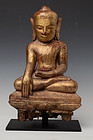 17th Century,  Burmese Wooden Seated Buddha