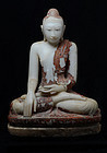 Early 19th C., Burmese Alabaster Seated Buddha
