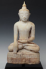 16th-17th C., Burmese Alabaster Seated Buddha