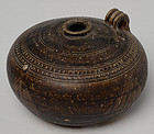Khmer Brown Glazed Pottery Honey Pot with Handle