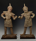 Tang Dynasty, A Pair of Large Chinese Pottery Warrior
