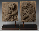 Song Dynasty, A Pair of Chinese Pottery Panels