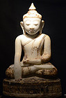 17th Century, Shan, Large Burmese Alabaster Buddha