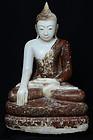 18th Century, Shan, Burmese Alabaster Sitting Buddha