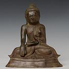 19th Century, Mandalay, Burmese Bronze Sitting Buddha