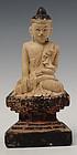 19th Century, Tai Yai, Burmese Wooden Sitting Buddha