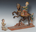 Burmese Wooden Figures of Horse and Rider