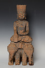 15th C., Burmese Wooden Seated Buddha on Elephants