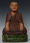 Late 19th Century, Burmese Wooden Sitting Monk