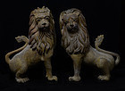 19th Century, A Pair of Burmese Wooden Standing Lions