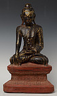 19th Century, Burmese Wooden Sitting Buddha