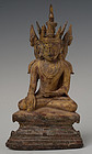 15th-16th C., Ava, Burmese Bronze Seated Crowned Buddha