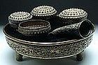 A Carved Silver Betel Nut Set