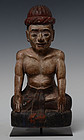 Early 20th C., Burmese Wooden Seated Figure of A Man