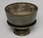 12th Century, A Set of Khmer Bronze Bowl with Tray