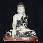 19th Century, Large Burmese Alabaster Seated Buddha