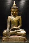 16th Century, Large Burmese Wooden Seated Buddha