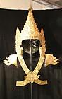 Large Burmese Gilt Metal Headdress of Buddha