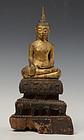 18th Century, Thai Wooden Seated Buddha