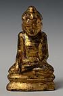 19th C., Mandalay, Burmese Wooden Seated Lotus Buddha
