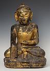 18th Century, Burmese Wooden Seated Buddha